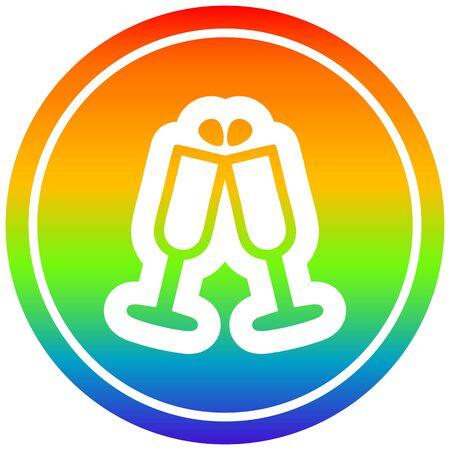 raised glasses circular icon with rainbow gradient finish