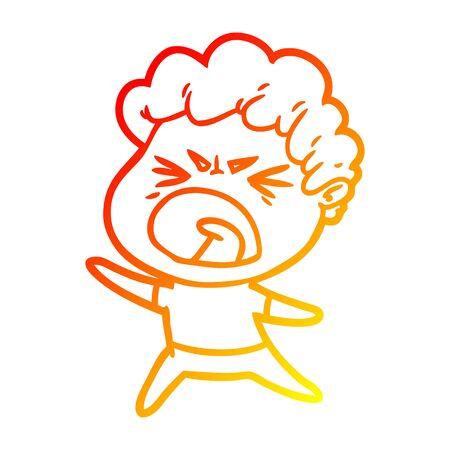 warm gradient line drawing of a cartoon furious man