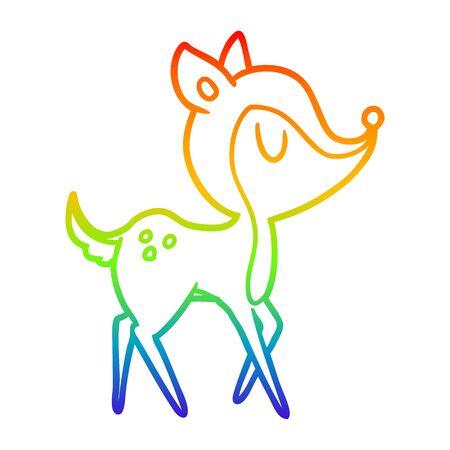 rainbow gradient line drawing of a cartoon cute deer
