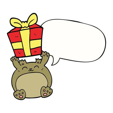 cute cartoon christmas bear with speech bubble