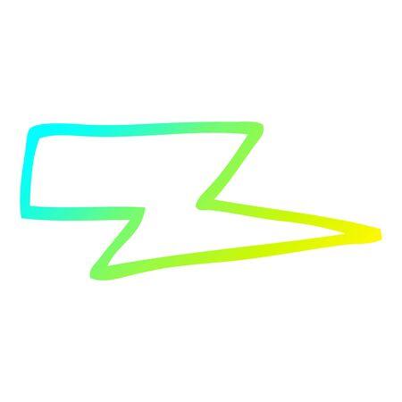 cold gradient line drawing of a cartoon lightening bolt