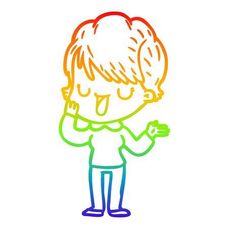 rainbow gradient line drawing of a cartoon woman talking Foto de archivo - 130009045