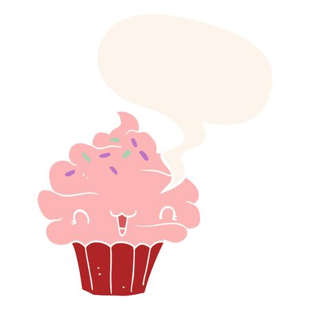 cute cartoon frosted cupcake with speech bubble in retro style