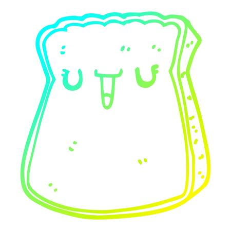 cold gradient line drawing of a cartoon slice of bread Иллюстрация