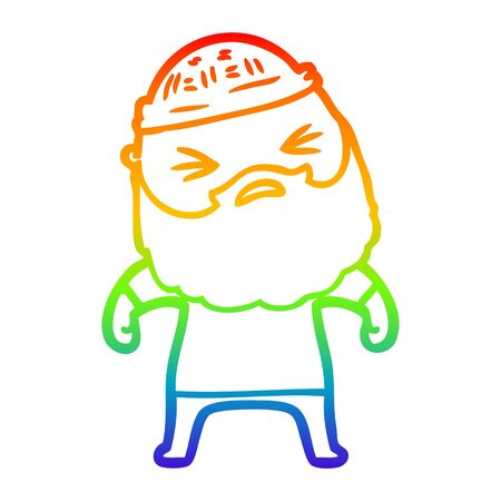 rainbow gradient line drawing of a cartoon man with beard
