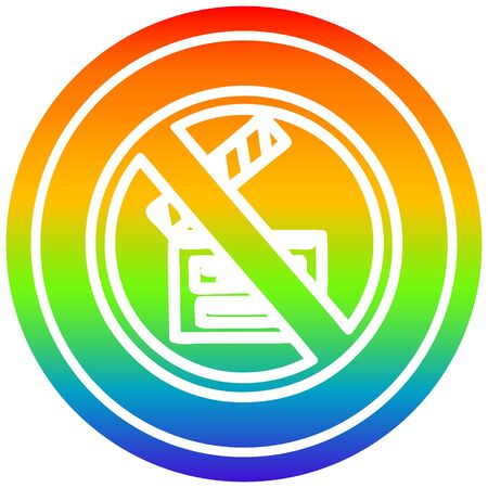 no filming circular icon with rainbow gradient finish