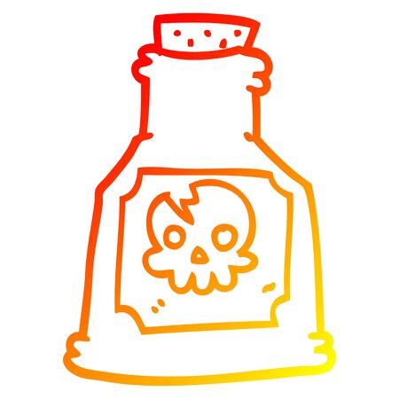 warm gradient line drawing of a cartoon poison bottle