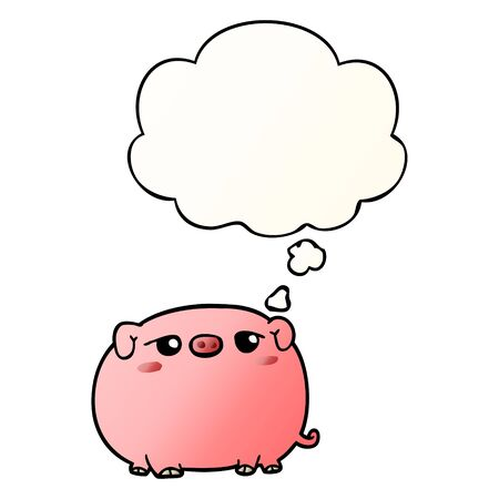cute cartoon pig with thought bubble in smooth gradient style Çizim