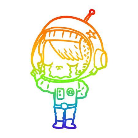 rainbow gradient line drawing of a cartoon crying astronaut girl Foto de archivo - 130009136