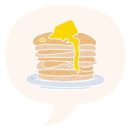 cartoon stack of pancakes with speech bubble in retro style Ilustracja