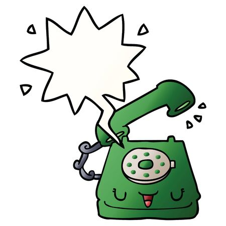 cute cartoon telephone with speech bubble in smooth gradient style
