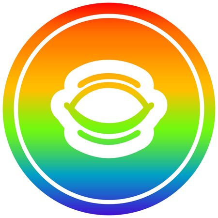 closed eye circular icon with rainbow gradient finish