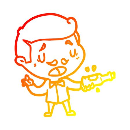warm gradient line drawing of a wine expert explaining