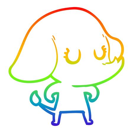 rainbow gradient line drawing of a cute cartoon elephant