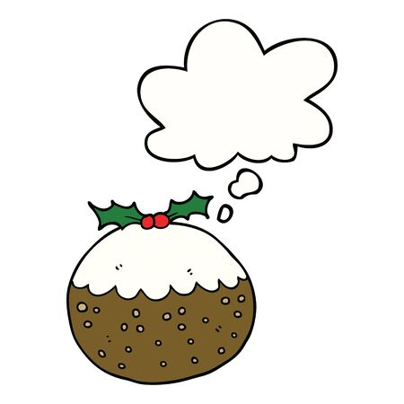 cartoon christmas pudding with thought bubble Illustration