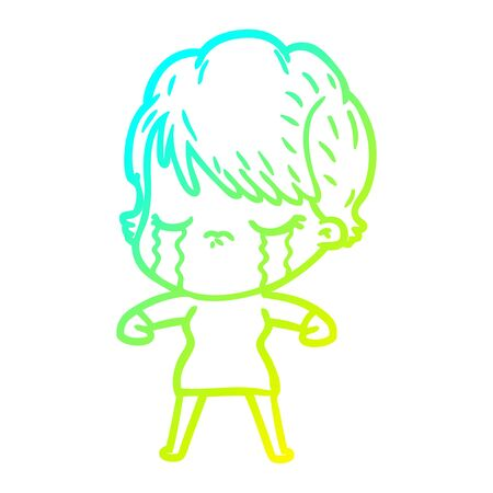 cold gradient line drawing of a cartoon woman crying Foto de archivo - 130009263