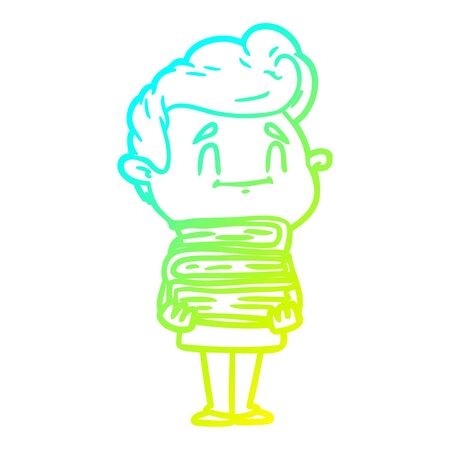 cold gradient line drawing of a happy cartoon man with stack of new books