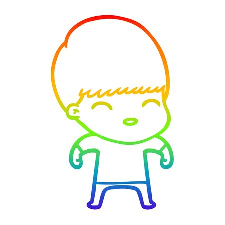 rainbow gradient line drawing of a happy cartoon boy Иллюстрация