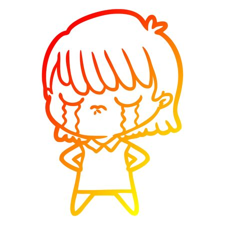 warm gradient line drawing of a cartoon woman crying Foto de archivo - 130009297