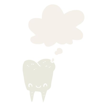 cartoon tooth with thought bubble in retro style Иллюстрация