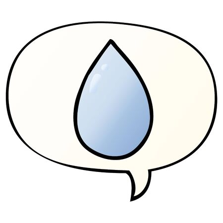 cartoon water droplet with speech bubble in smooth gradient style Illustration