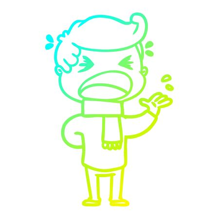 cold gradient line drawing of a cartoon shouting man