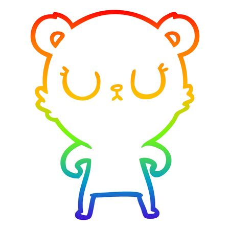 rainbow gradient line drawing of a peaceful cartoon bear