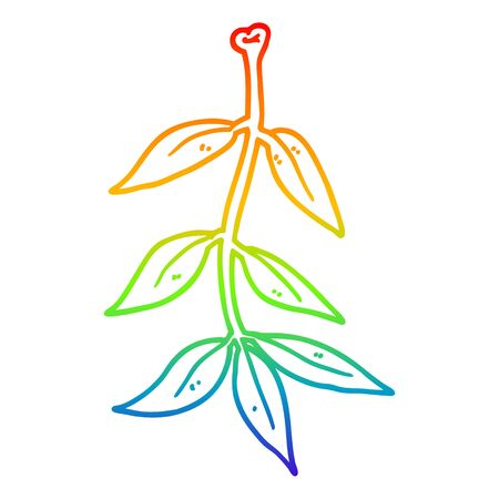 rainbow gradient line drawing of a cartoon leaves