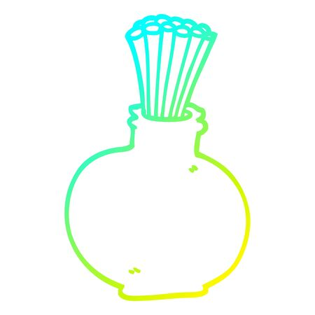 cold gradient line drawing of a cartoon reeds in vase