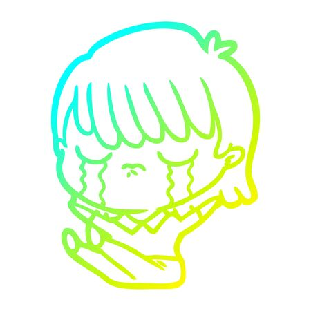 cold gradient line drawing of a cartoon woman crying Foto de archivo - 130009351