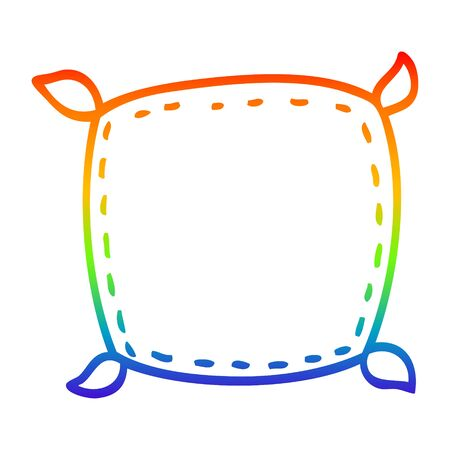 rainbow gradient line drawing of a cartoon plain cushion
