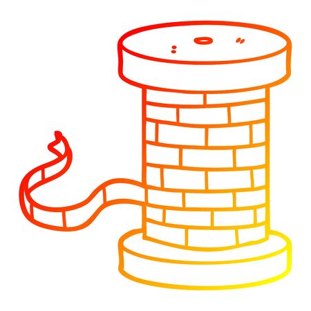 warm gradient line drawing of a cartoon reel of ribbon Ilustração