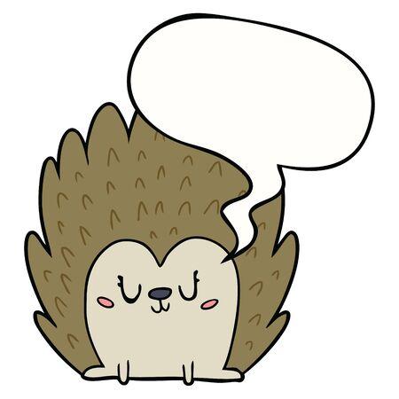 cute cartoon hedgehog with speech bubble Ilustração