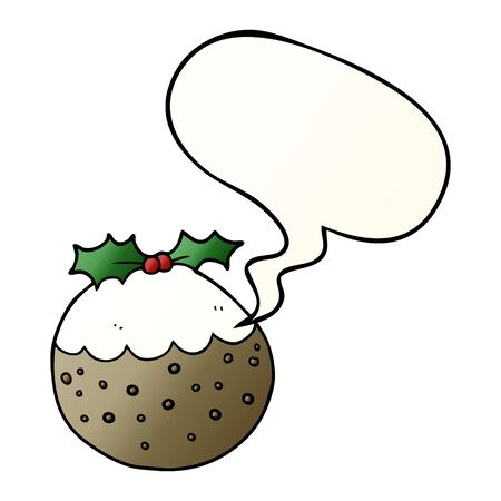 cartoon christmas pudding with speech bubble in smooth gradient style