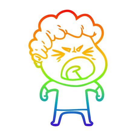 rainbow gradient line drawing of a cartoon furious man Çizim