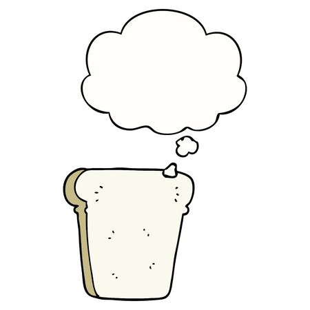 cartoon slice of bread with thought bubble 写真素材 - 129994165