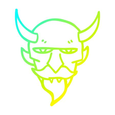 cold gradient line drawing of a cartoon devil face