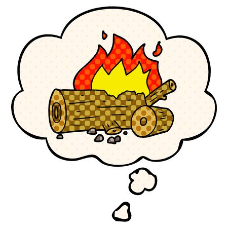 cartoon camp fire with thought bubble in comic book style
