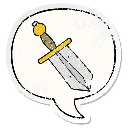 cartoon dagger with speech bubble distressed distressed old sticker 写真素材 - 130009397