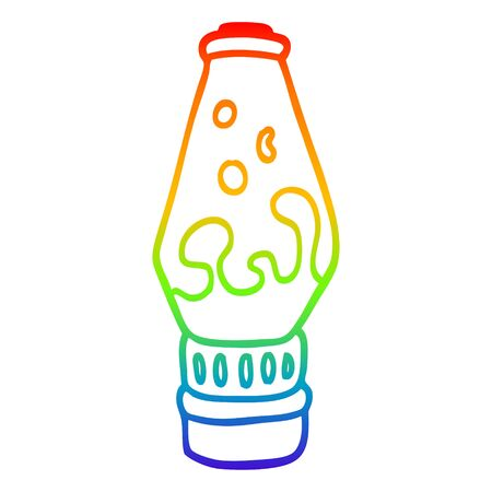 rainbow gradient line drawing of a cartoon lava lamp