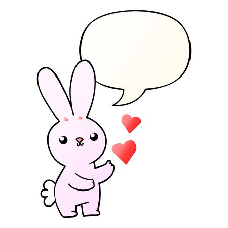 cute cartoon rabbit with love hearts with speech bubble in smooth gradient style