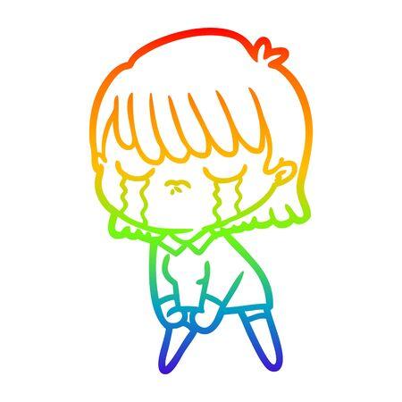rainbow gradient line drawing of a cartoon woman crying Foto de archivo - 130009462