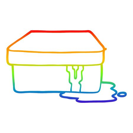 rainbow gradient line drawing of a cartoon box with slime  イラスト・ベクター素材
