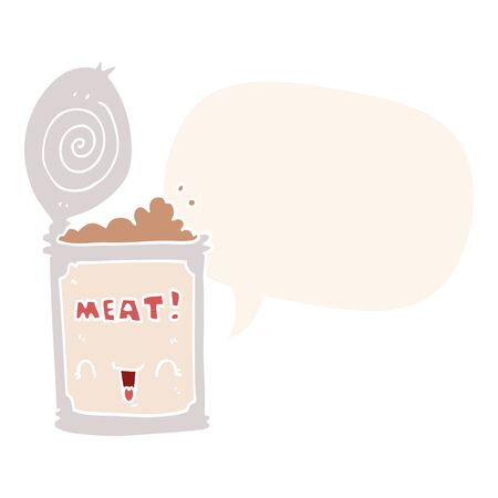 cartoon canned meat with speech bubble in retro style