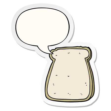 cartoon slice of bread with speech bubble sticker