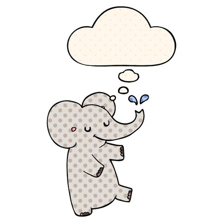 cartoon dancing elephant with thought bubble in comic book style