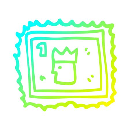 cold gradient line drawing of a cartoon stamp with royal face