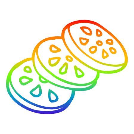 rainbow gradient line drawing of a cartoon sliced tomato