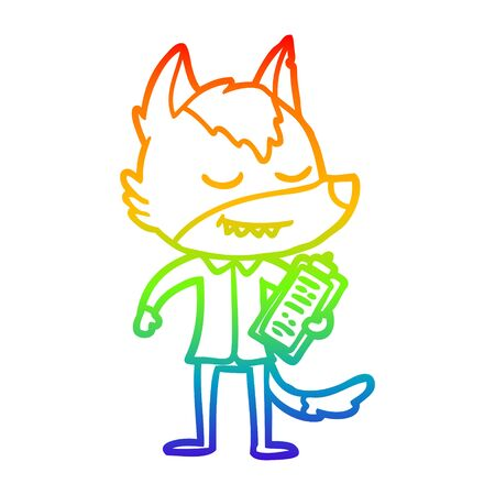 rainbow gradient line drawing of a friendly cartoon wolf with notes