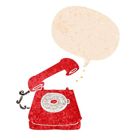 cartoon old telephone with speech bubble in grunge distressed retro textured style